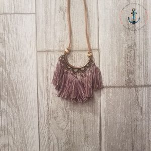 Long Tassel Necklace - Purple